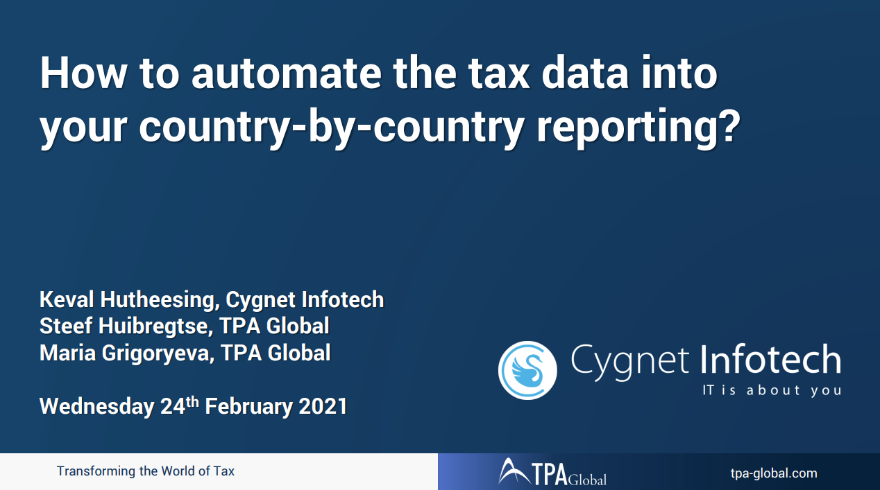 How To Automate The Relevant Tax Data Transfer Into Your Country-By-Country Reporting?