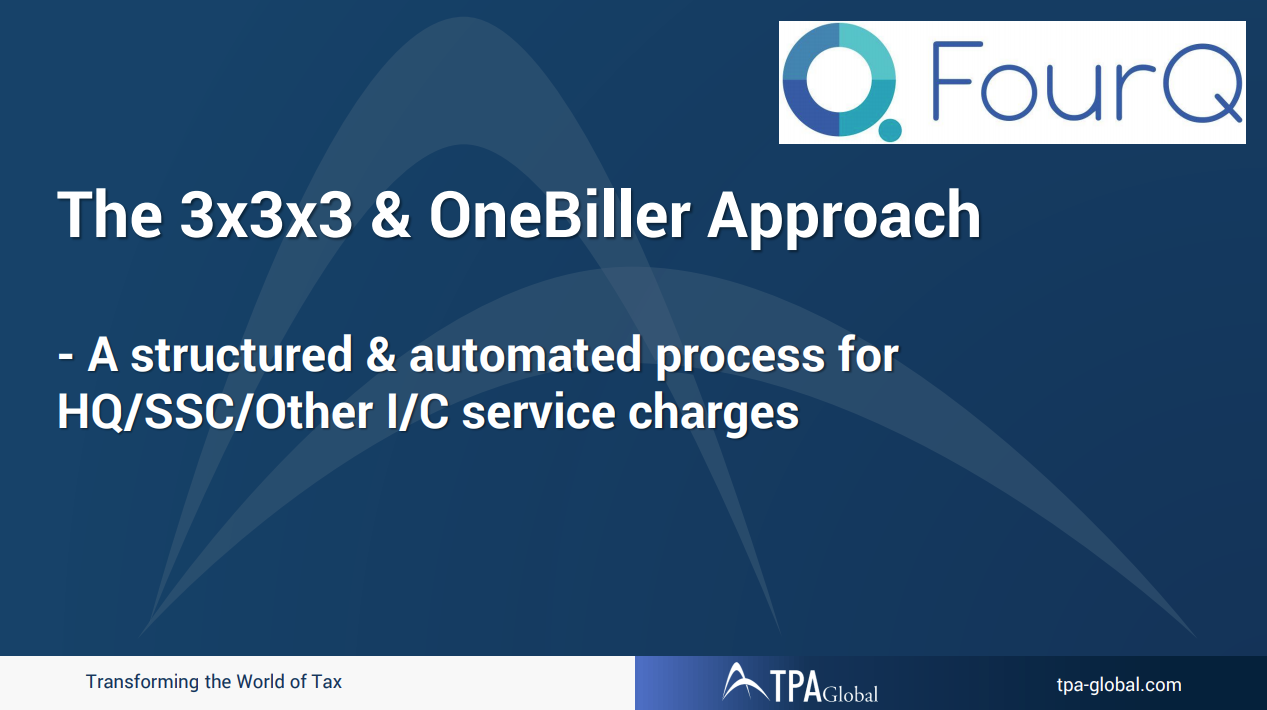 A Structured and Automated Model for HQ/SSC/Other Intercompany Service Charges - The 3x3x3 and One Biller Approach